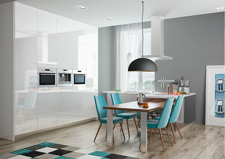 Кухня с глянцевыми белыми фасадами